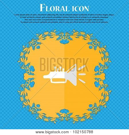 Trumpet, Brass Instrument. Floral Flat Design On A Blue Abstract Background With Place For Your Text