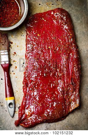 Crude Flank Steak Ready For A Grill