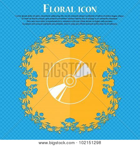 Cd, Dvd, Compact Disk, Blue Ray. Floral Flat Design On A Blue Abstract Background With Place For You