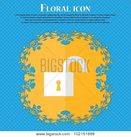 Open Lock. Floral Flat Design On A Blue Abstract Background With Place For Your Text. Vector