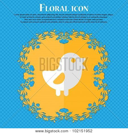 Chicken, Bird. Floral Flat Design On A Blue Abstract Background With Place For Your Text. Vector