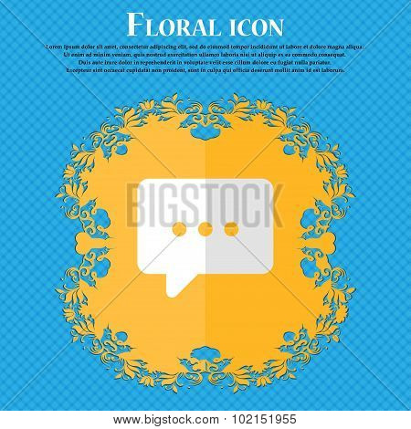 Cloud Of Thoughts. Floral Flat Design On A Blue Abstract Background With Place For Your Text. Vector