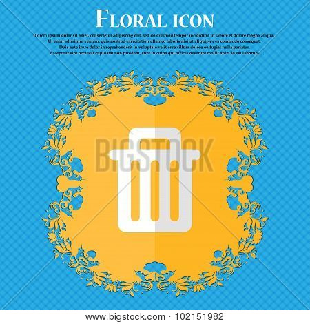 Recycle Bin. Floral Flat Design On A Blue Abstract Background With Place For Your Text. Vector