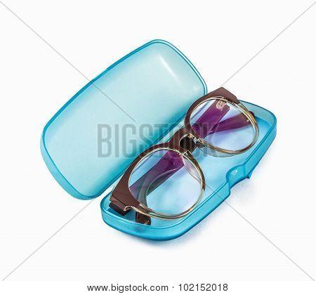 Blue Plastic Glasses Case Isolated On White