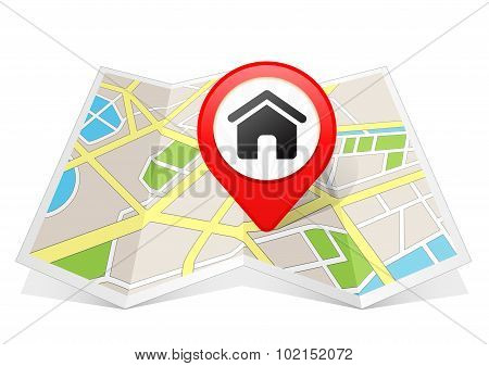 Home House Real Estate Icon Map pointer Location Destination on map