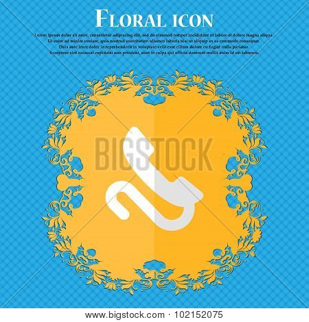 Retro Telephone Handset. Floral Flat Design On A Blue Abstract Background With Place For Your Text.