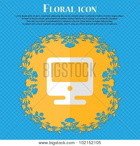 Monitor. Floral Flat Design On A Blue Abstract Background With Place For Your Text. Vector