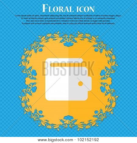 Purse. Floral Flat Design On A Blue Abstract Background With Place For Your Text. Vector