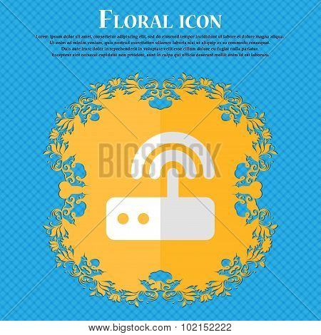 Wi Fi Router. Floral Flat Design On A Blue Abstract Background With Place For Your Text. Vector