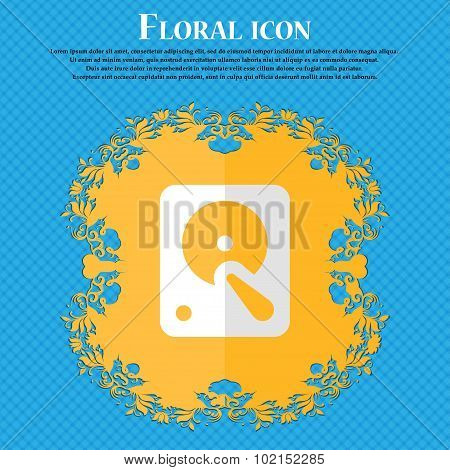 Hard Disk. Floral Flat Design On A Blue Abstract Background With Place For Your Text. Vector