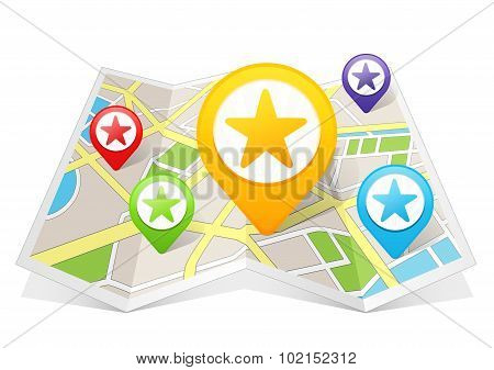 Star Rating My Favorite Map pointer Location Destination on map
