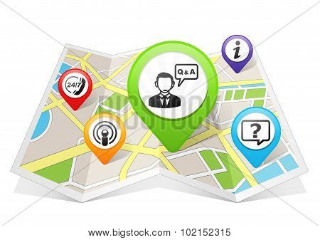 Customer Support and Service Q & A Map pointer Location Destination on map