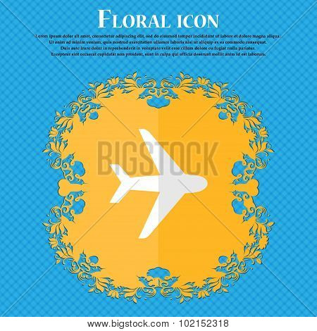 Plane. Floral Flat Design On A Blue Abstract Background With Place For Your Text. Vector