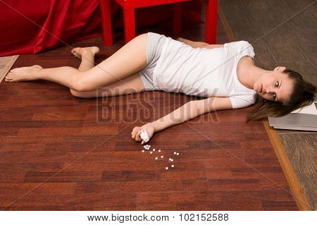 Crime Scene Simulation. Overdosed Girl Lying On The Floor