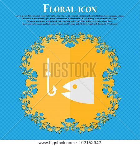 Fishing. Floral Flat Design On A Blue Abstract Background With Place For Your Text. Vector