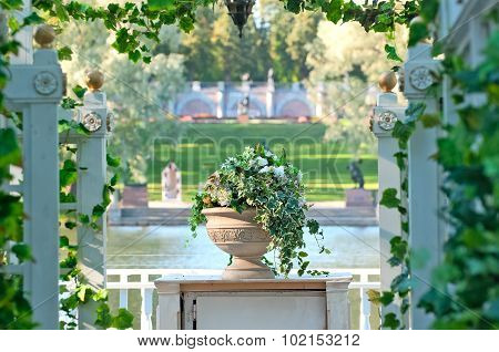 Tsarskoye Selo (Pushkin). Saint-Petersburg. Russia. The flower vase on the Great Island