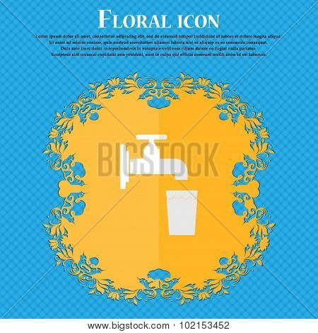 Faucet, Glass, Water. Floral Flat Design On A Blue Abstract Background With Place For Your Text. Vec