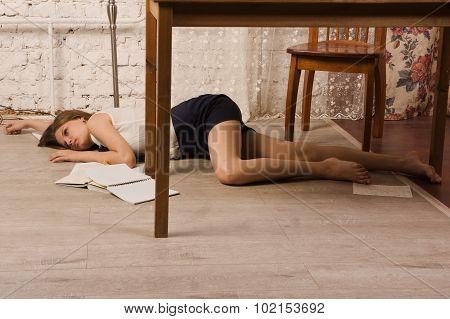 Lifeless College Girl On A Floor