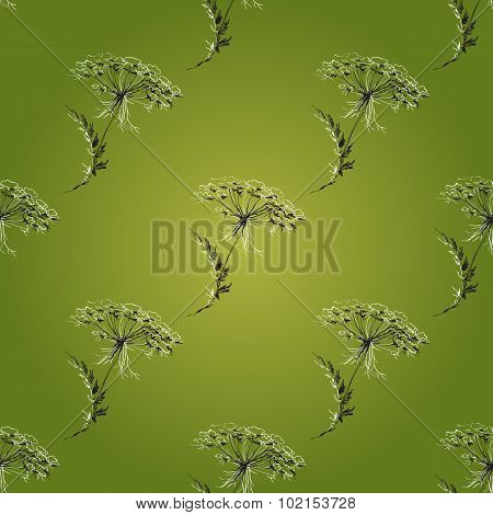 Green Seamless Vintage Pattern with Herbs, flowers and plants.