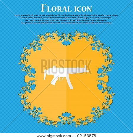 Machine Gun. Floral Flat Design On A Blue Abstract Background With Place For Your Text. Vector