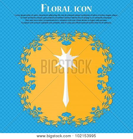 Mace. Floral Flat Design On A Blue Abstract Background With Place For Your Text. Vector