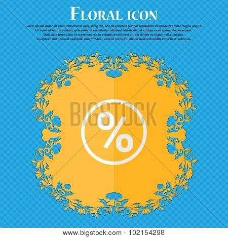 Percentage Discount. Floral Flat Design On A Blue Abstract Background With Place For Your Text. Vect