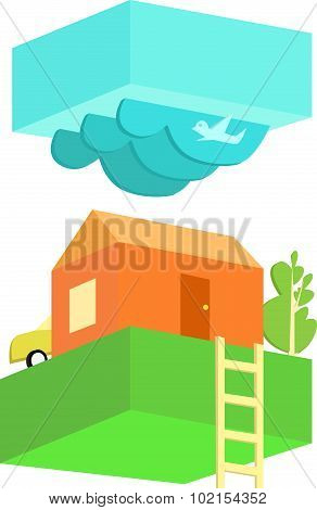 Rural house in cloudy weather