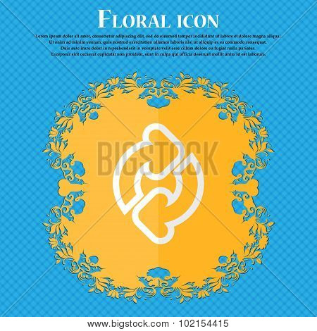 Refresh. Floral Flat Design On A Blue Abstract Background With Place For Your Text. Vector