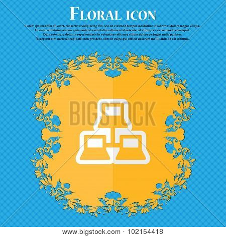 Local Area Network. Floral Flat Design On A Blue Abstract Background With Place For Your Text. Vecto