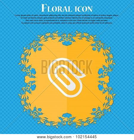 Paper Clip. Floral Flat Design On A Blue Abstract Background With Place For Your Text. Vector