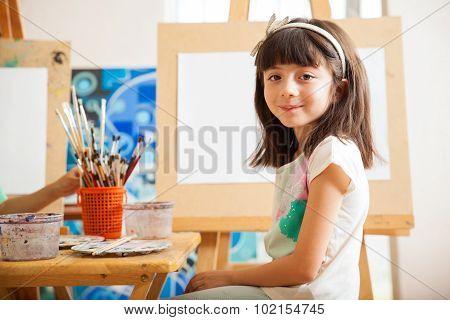 Cute Girl In Art Class