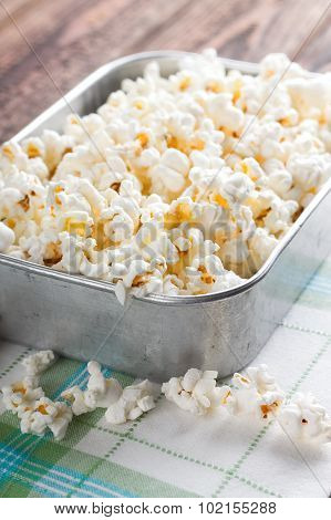 Aluminum Bowl Full Of Popcorn