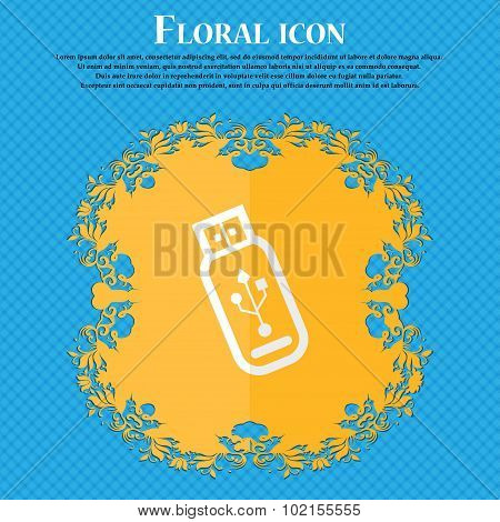 Usb Flash Drive. Floral Flat Design On A Blue Abstract Background With Place For Your Text. Vector