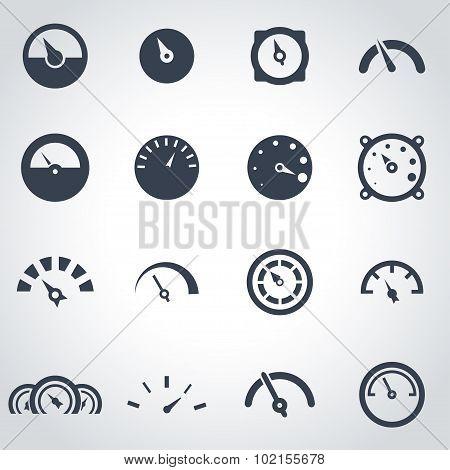 Vector black meter icon set