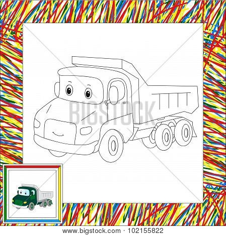 Funny Cartoon Lorry. Coloring Book For Kids