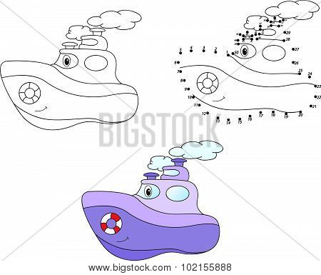 Purple Cartoon Steamer. Vector Illustration. Coloring And Dot To Dot Game For Kids