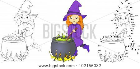 Cute And Nice Witch With Cauldron Brews Magic Potion. Vector Illustration. Coloring And Dot To Dot G