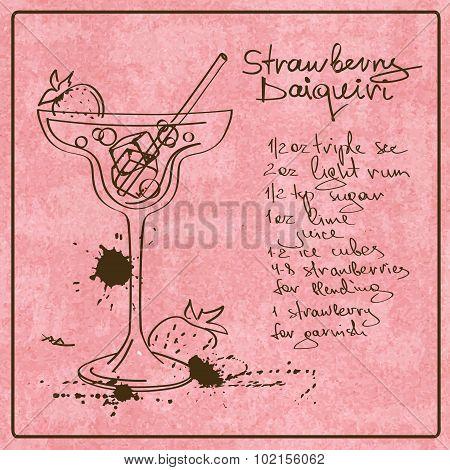 Hand Drawn Daiquiri Cocktail