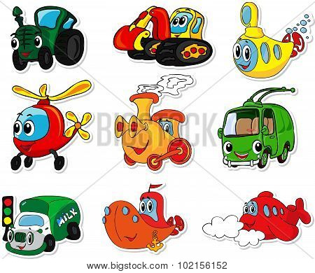 Set Of Transport: Tractor, Excavator, Submarine, Helicopter, Train, Trolleybus, Lorry, Ship And Airc