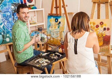 Adults Enjoying Art School