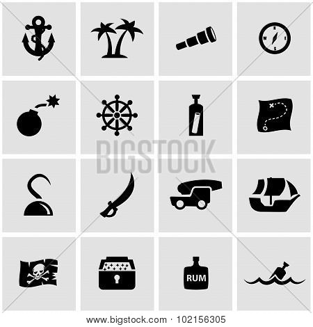 Vector black pirate chart icon set
