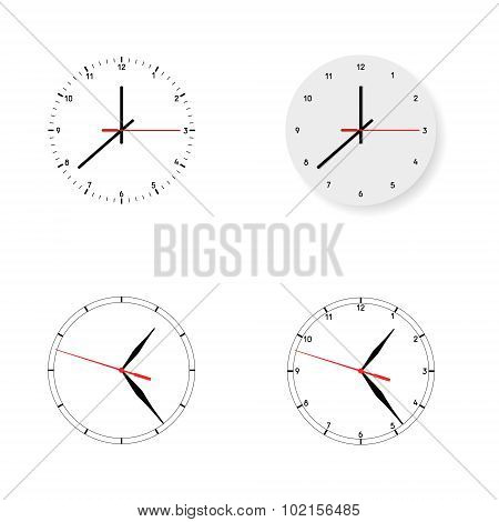 Set of 4 modern watches black round dials on white background