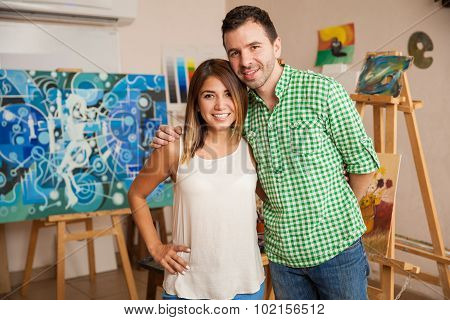 Attractive Couple On An Art Workshop