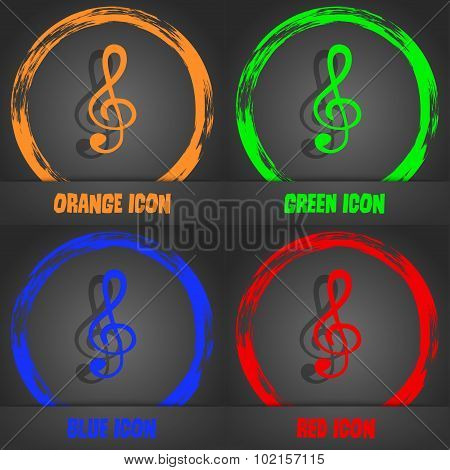 Treble Clef Icon. Fashionable Modern Style. In The Orange, Green, Blue, Red Design. Vector