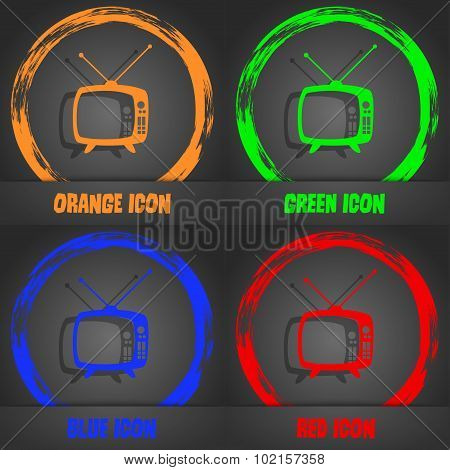 Retro Tv Mode Sign Icon. Television Set Symbol. Fashionable Modern Style. In The Orange, Green, Blue