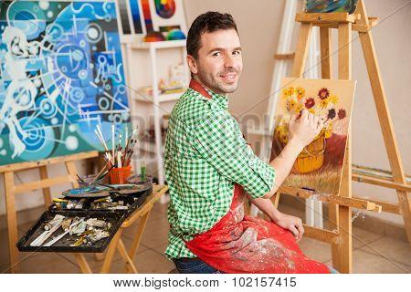 Handsome Male Artist At Work