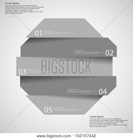 Infographic Templete With Motif Of Octagon Divided To Five Parts
