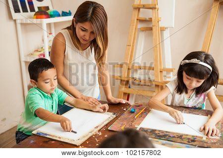 Pretty Girl Teaching Art Class