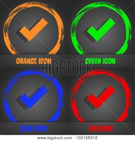 Check Mark Sign Icon . Confirm Approved Symbol. Fashionable Modern Style. In The Orange, Green, Blue