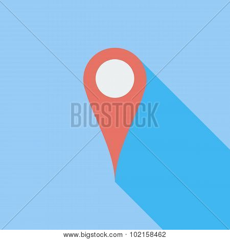 Map pointer single flat icon.